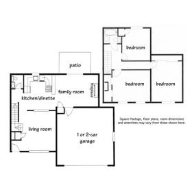 Madison Duplex Floor Plan C - 3 bedroom - click for details